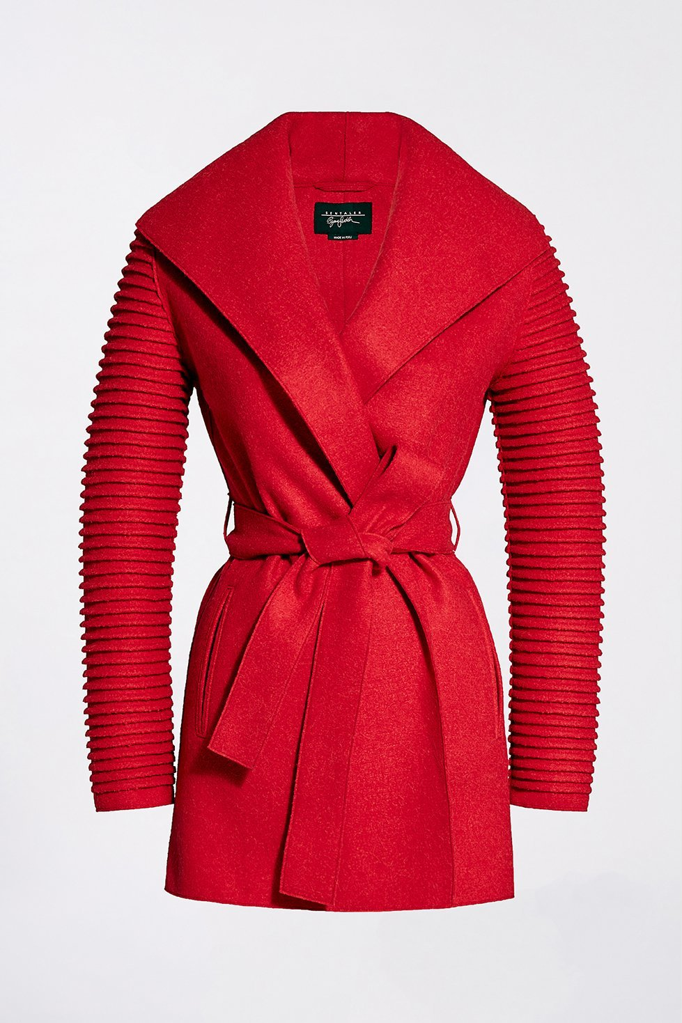 Wrap Coat with Ribbed Sleeves