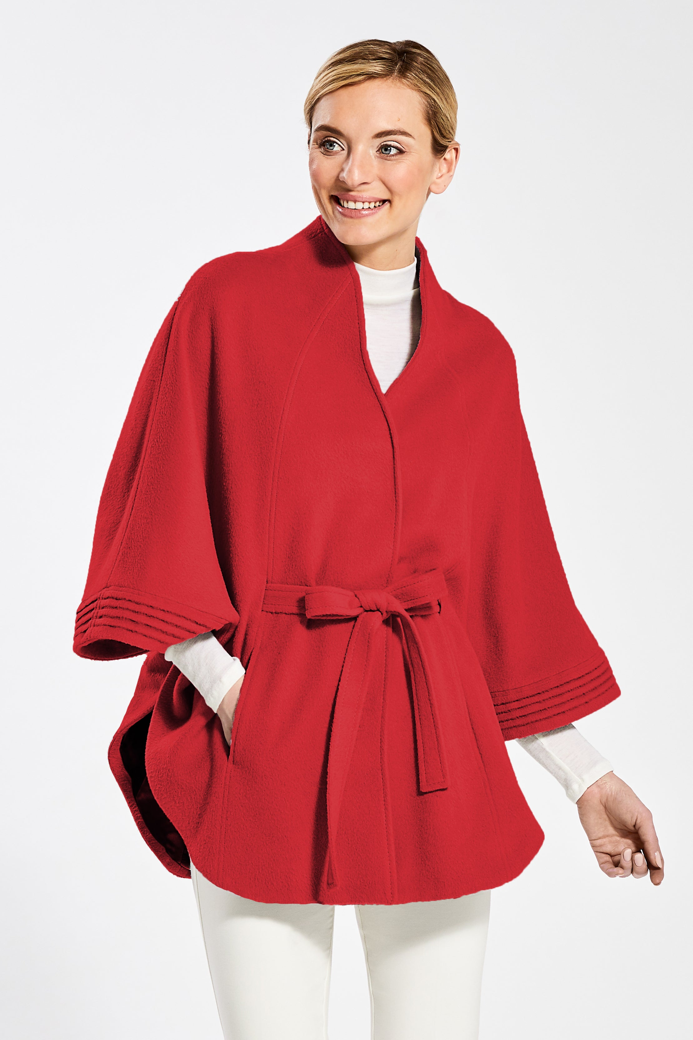 Stand Collar Cape with Ribbed Cuffs