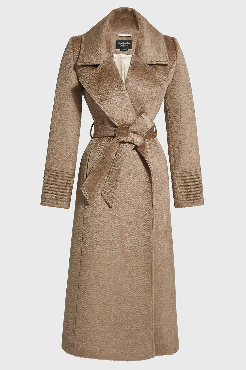 Sentaler Suri Alpaca Long Notched Collar Wrap Coat featured in Suri Alpaca and available in Hazelnut. Seen off model.