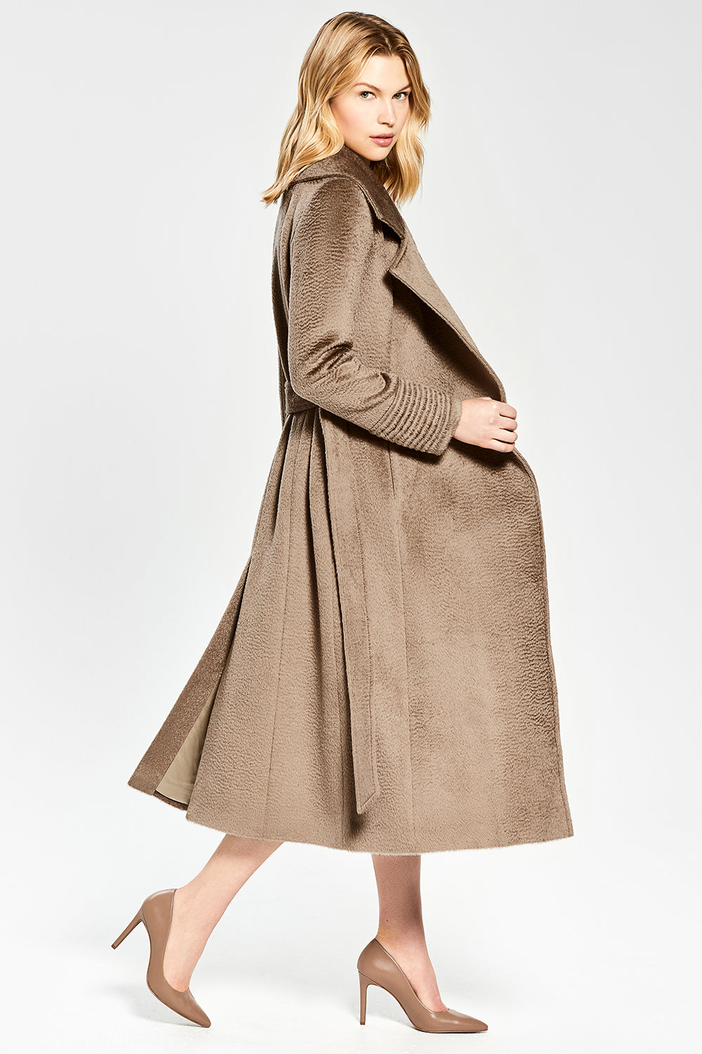 Sentaler Suri Alpaca Long Notched Collar Wrap Coat featured in Suri Alpaca and available in Hazelnut. Seen from side.