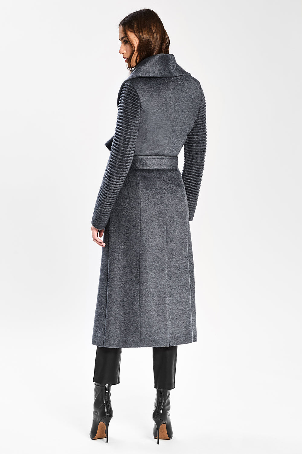 Sentaler Suri Alpaca Long Shawl Collar Wrap Coat with Ribbed Sleeves featured in Suri Alpaca and available in Charcoal. Seen from back.
