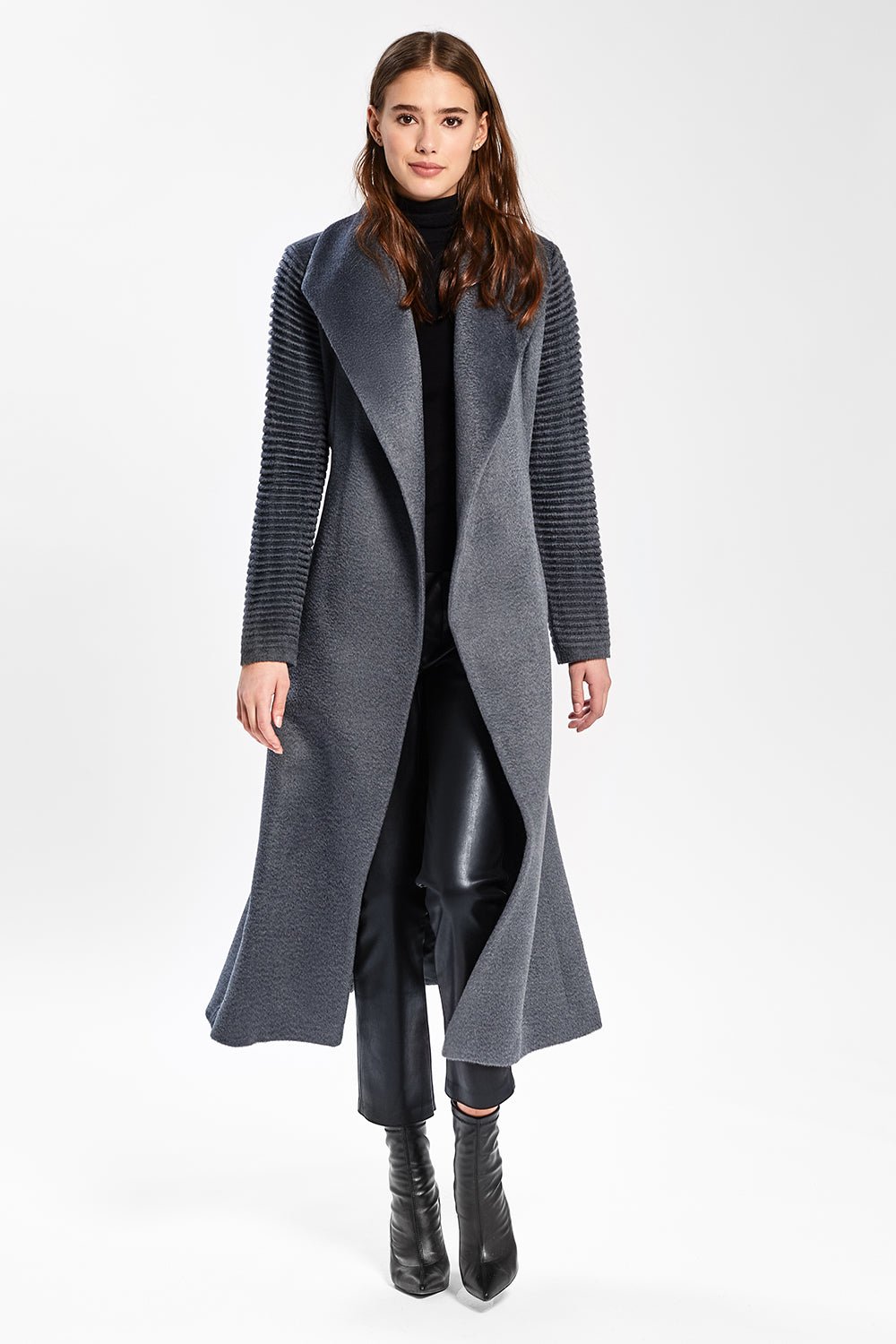 Sentaler Suri Alpaca Long Shawl Collar Wrap Coat with Ribbed Sleeves featured in Suri Alpaca and available in Charcoal. Seen open.
