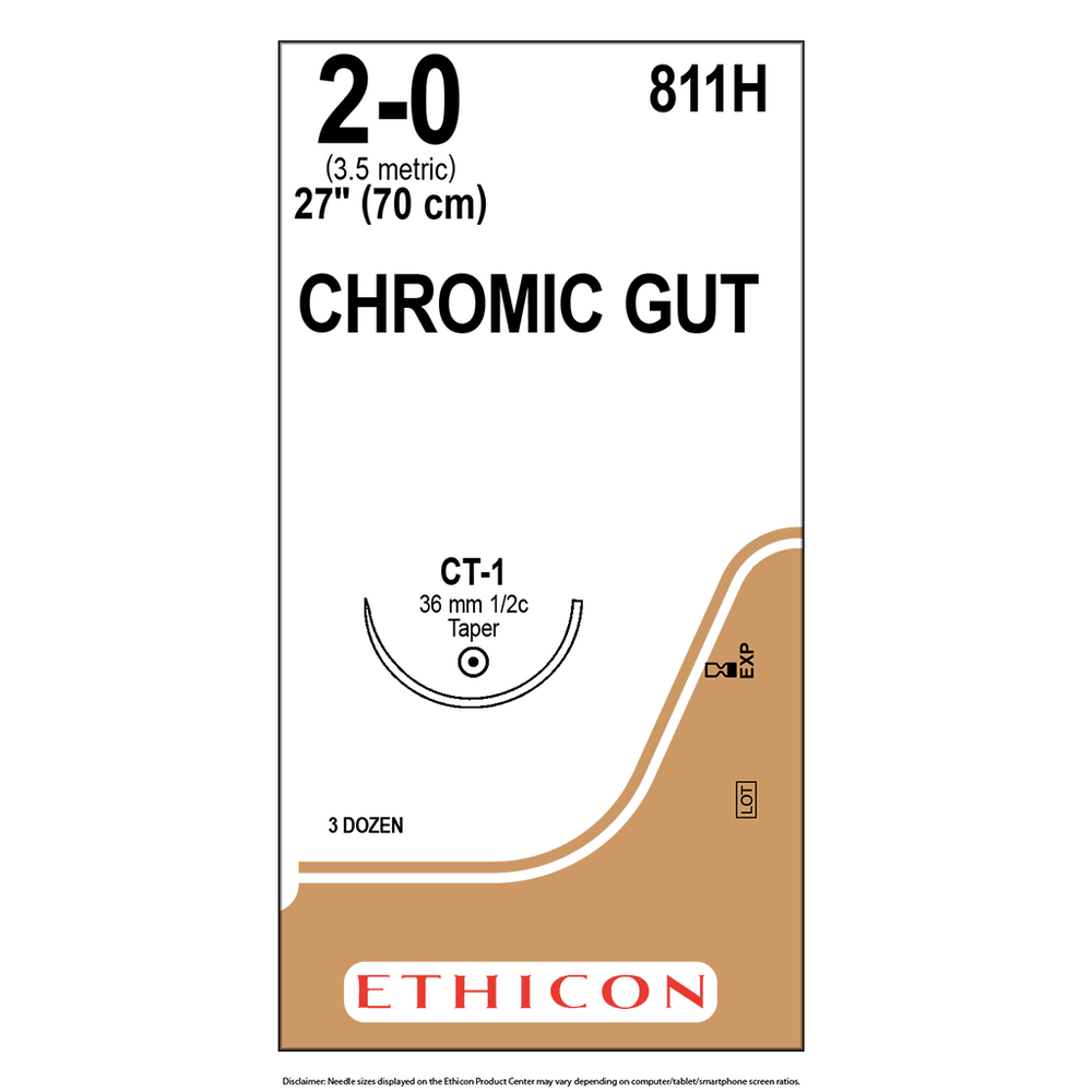 Surgical Gut Suture - Chromic 2-0 (3.5 Metric)  - 1 Box/36 Packets - 811H