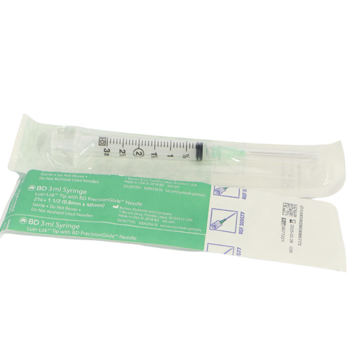 BD 3ml Syringe 21G x 1 1/2 Luer-Lock Tip Syringe with PrecisionGlide Needle