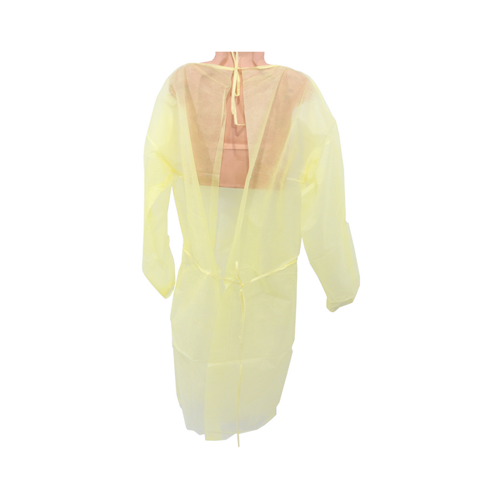 CPE Elastic Cuff Yellow Disposable Isolation Gown XL