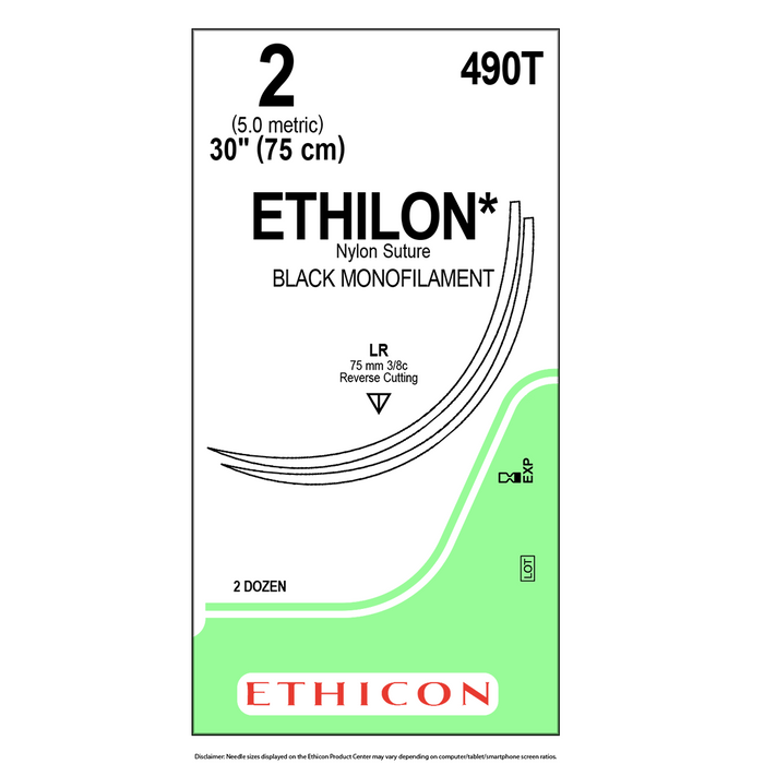ETHILON® Nylon Suture - 2 (5.0 Metric) - 12 Packets/Box - 490T