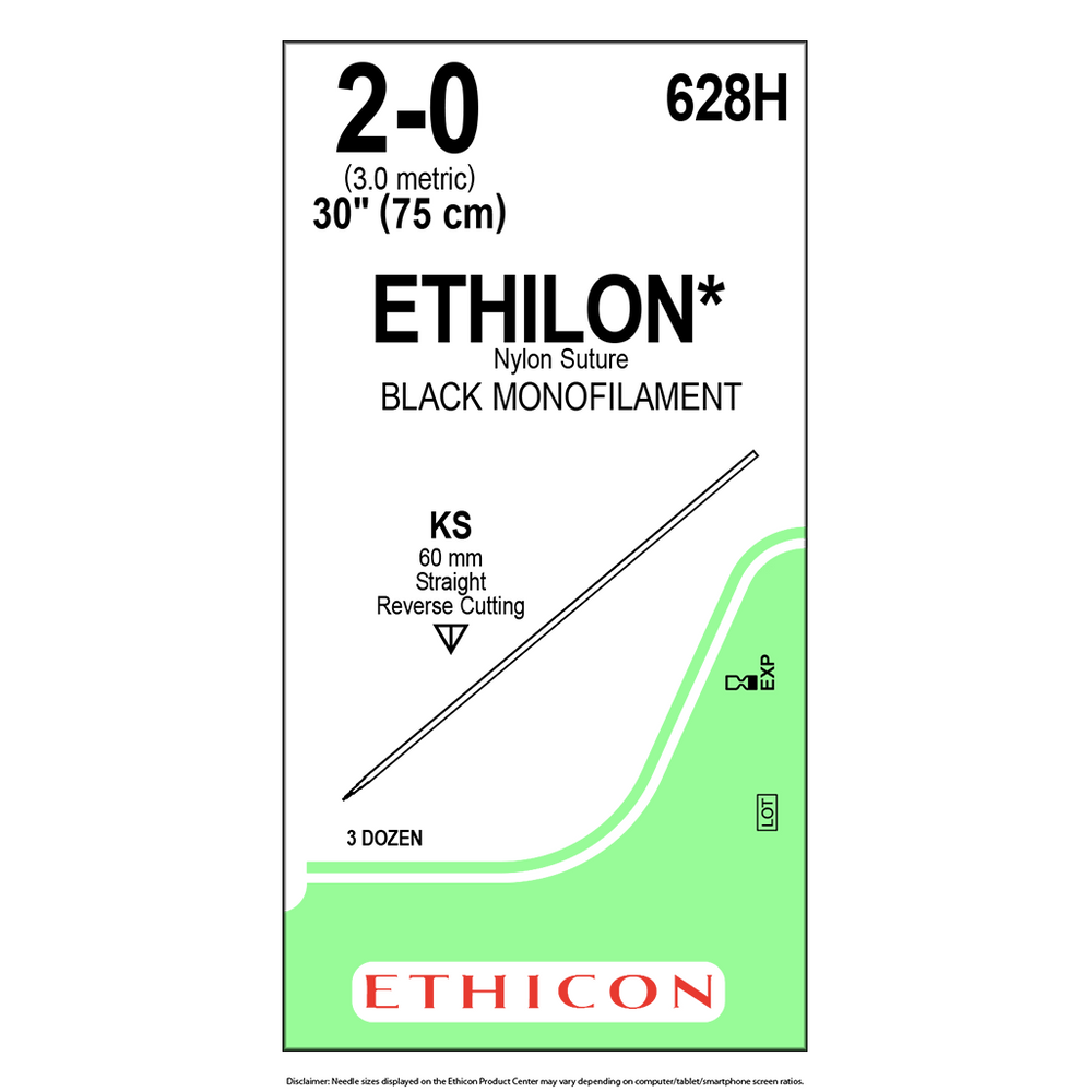 ETHILON® Nylon Suture 2-0 (3.0 Metric) - Bx/36 Packets - 628H