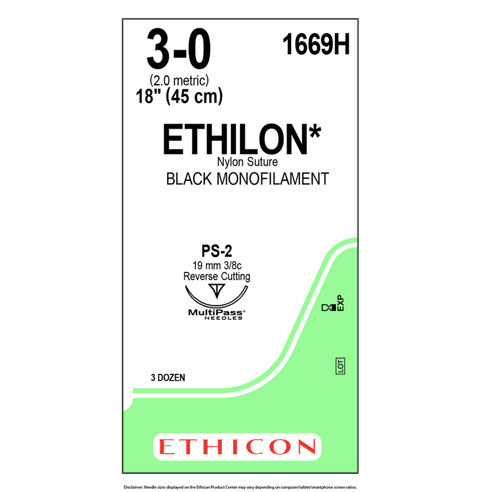 ETHILON® Nylon Suture 3-0 (2 Ph. Eur.) | BX/36 Packets | 1669H
