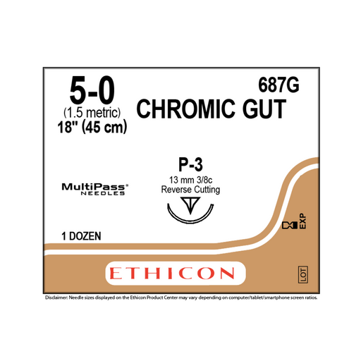 "Ethicon 687G Surgical Gut Suture - Chromic 5-0 Naturally BROWN 1X18"" P-3"