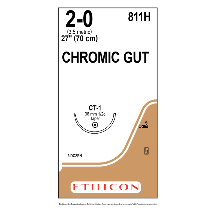 "Ethicon 811H 2-0 GUT CHROMIC Suture Naturally BROWN 1X27"" CT-1"