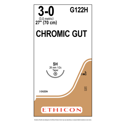 "Ethicon G122H 3-0 GUT CHROMIC Suture Naturally BROWN 1X27"" SH"