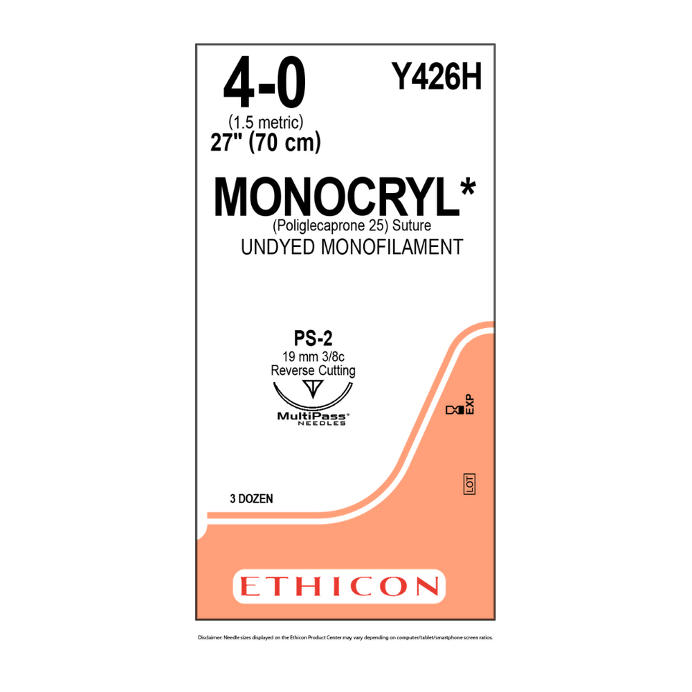 "Ethicon Y426H 4-0 MONOCRYL SUTURE UNDYED 1X27"" PS-2"
