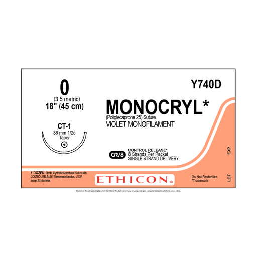 "Ethicon Y740D MONOCRYL SUTURE 0 VIOLET 8X18"" CT-1 CR"
