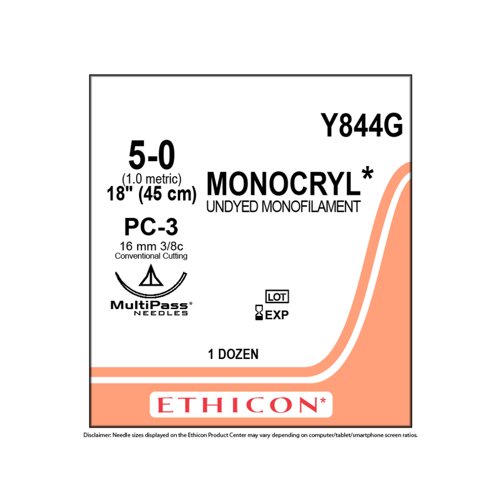 "Ethicon Y844G 5-0 MONOCRYL SUTURE UNDYED 1X18"" PC-3"