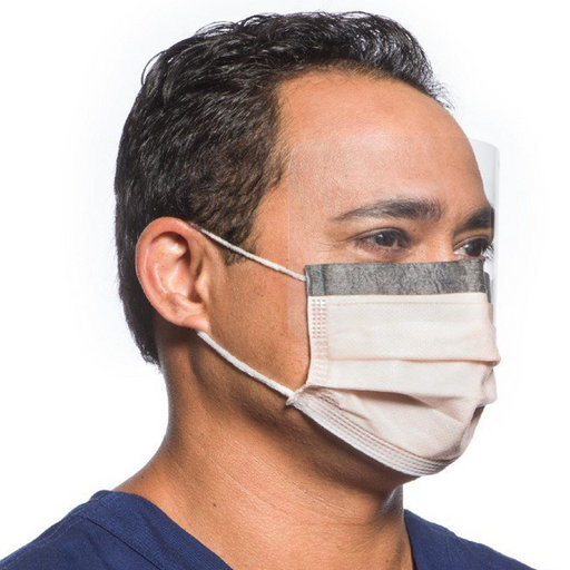 FLUIDSHIELD* Level 3 Fog-Free Procedure Mask with SO SOFT*  Lining Face Shield | 25 Masks/Bx