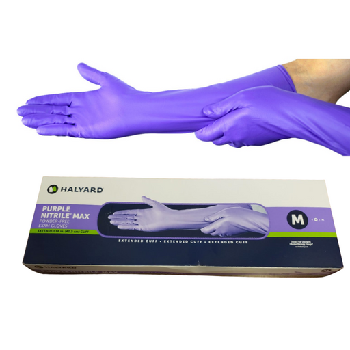 Halyard Purple Nitrile Max Powder-Free Exam Gloves Extended Cuff M 50 Gloves/Box