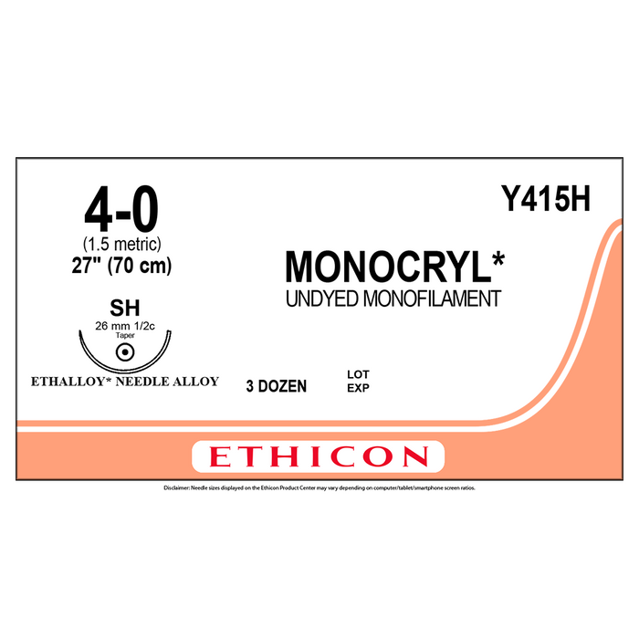 MONOCRYL® (poliglecaprone 25) Suture 4-0 (1.5 Metric)- Box/36 Packets - Y415H