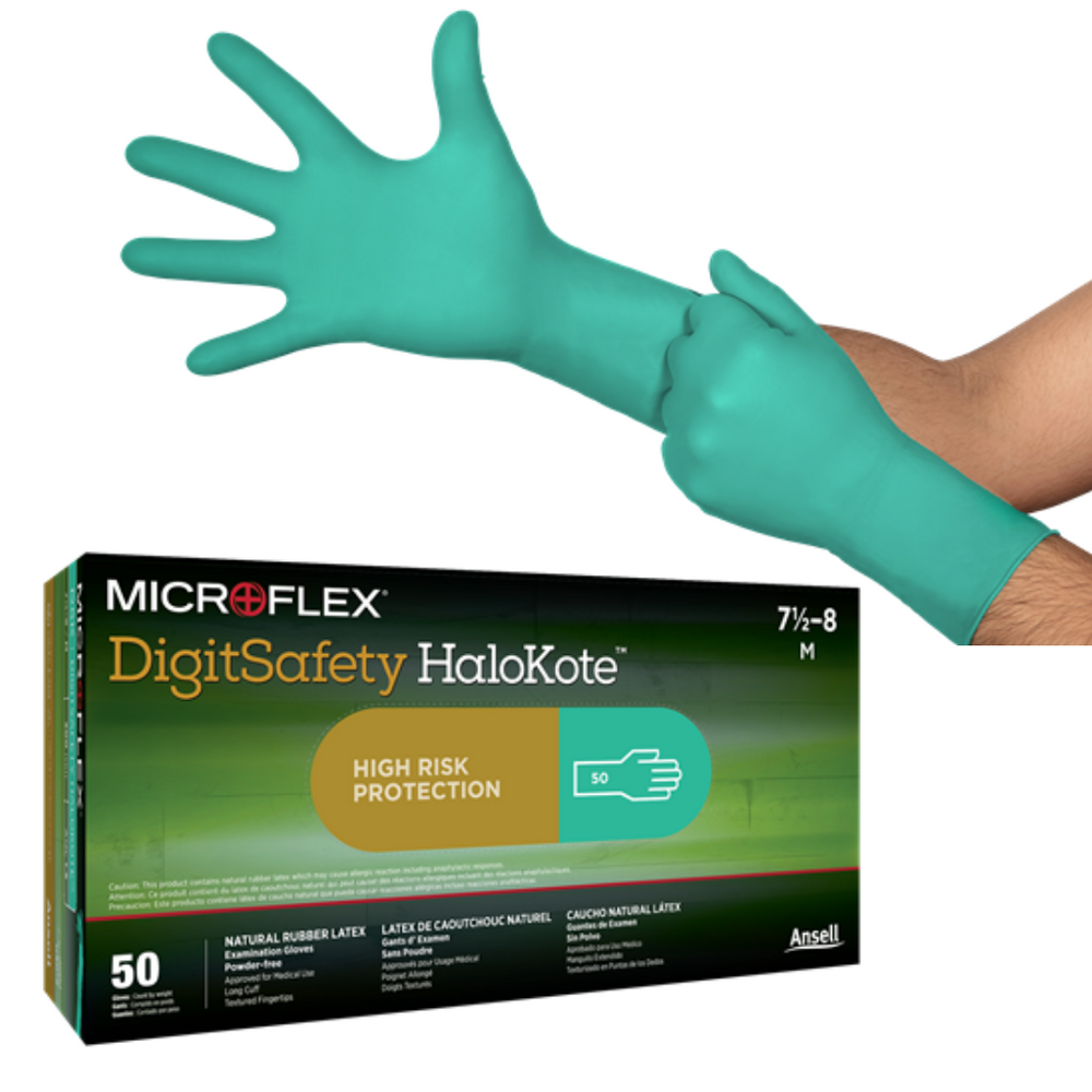 Microflex DSK Digitsafety HaloKote Latex Examination Gloves Green Size XL 9.5-10  | 50/Bx