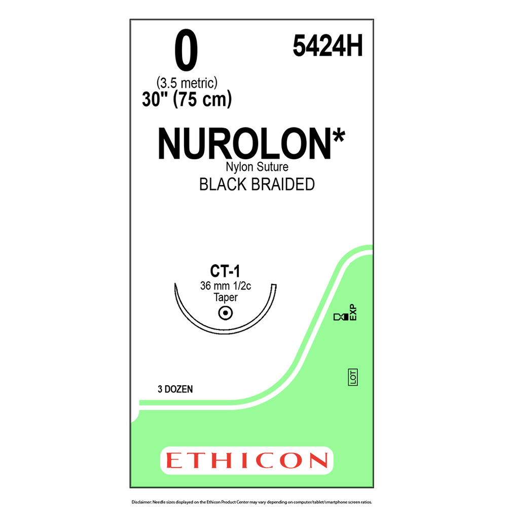 NUROLON® Nylon Suture 0 (3.5 Ph. Eur.) - Bx/36 Packets - 5424H