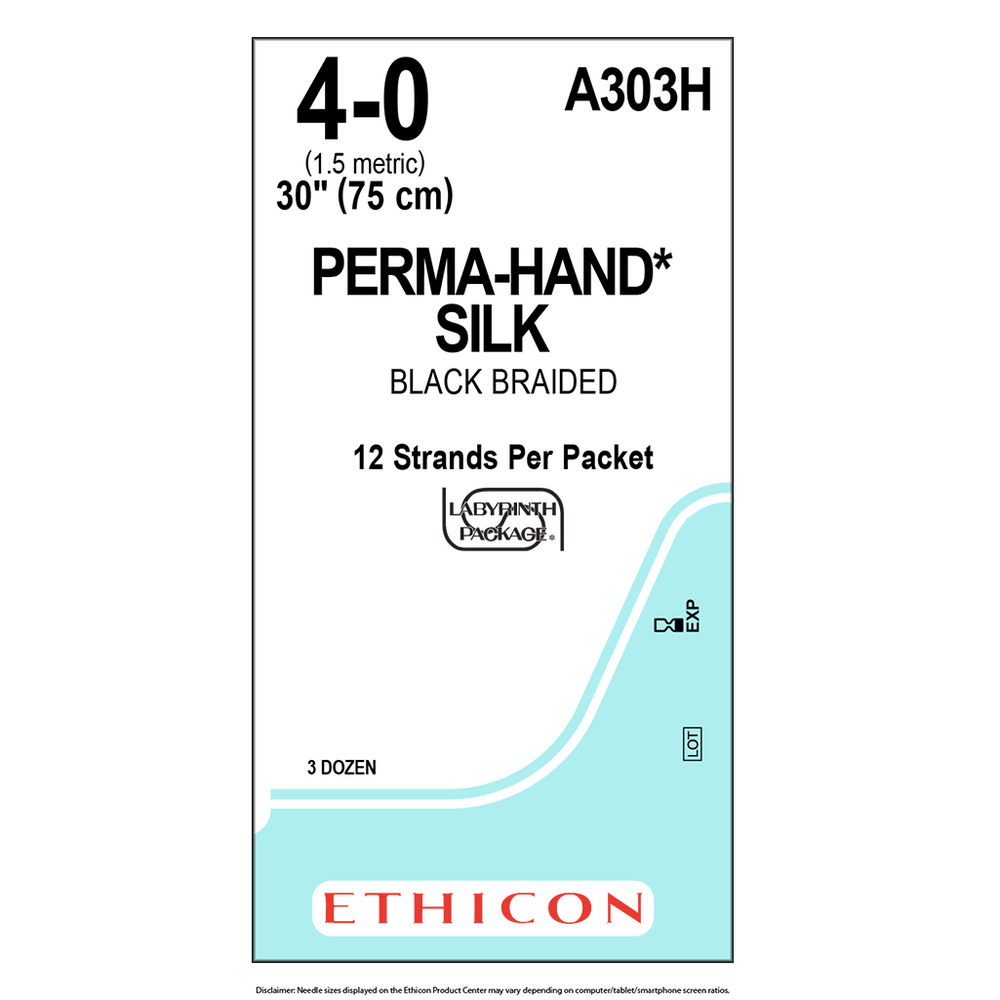 PERMAHAND® Silk Suture 4-0 (1.5 Metric)- 1 Box/36 Packets - A303H