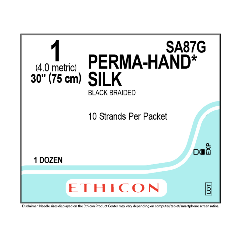 PERMAHAND® Silk Suture - 1 (4.0 Metric) - 1 Box/ 12 Packets -  SA87G