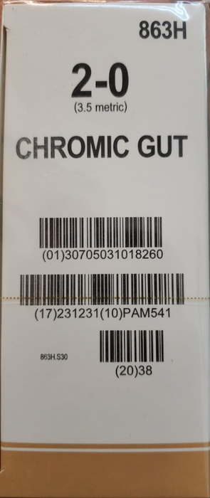 Surgical Gut Suture - Chromic -2-0 (2.5 Metric)- 1 Box/36 Packets - 863H
