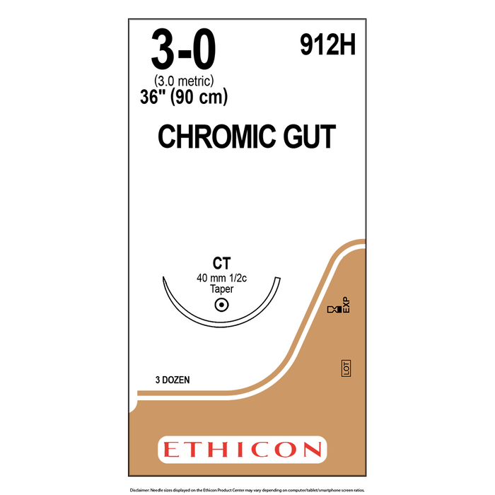 Surgical Gut Suture - Chromic- 3-0 - 36 Packets/Box - 912H