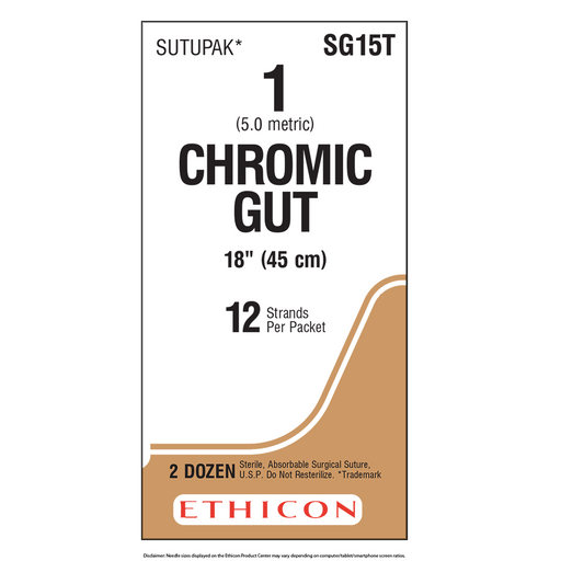 Surgical Gut Suture - Chromic 1 (5 Ph. Eur.) | Bx/24 Packets | SG15T