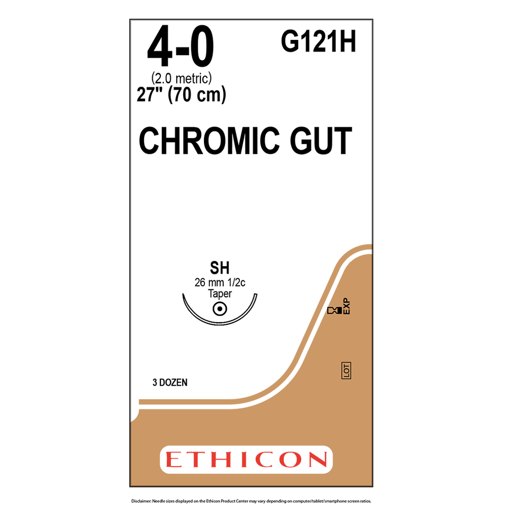 Surgical Gut Suture - Chromic 4.0 | Bx/36 Packets | G121H
