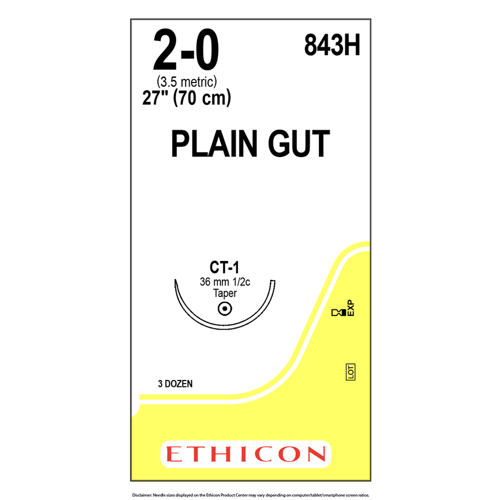 Surgical Gut Suture - Plain- 2-0 (3.5 Metric) - BX/36 Packets - 843H