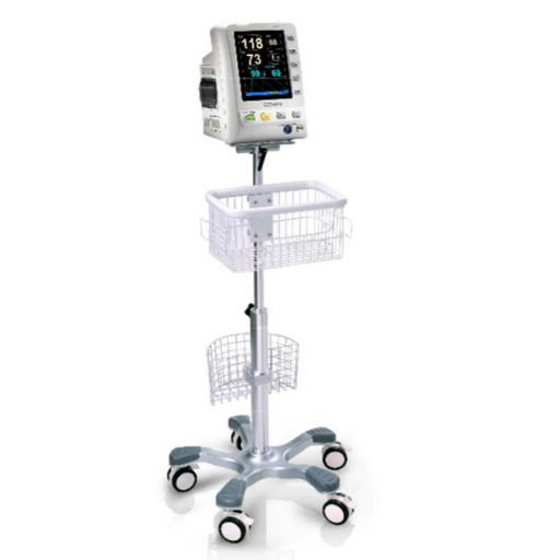 Patient Monitor Center Pole Trolley (roll stand) with Basket and locking Casters