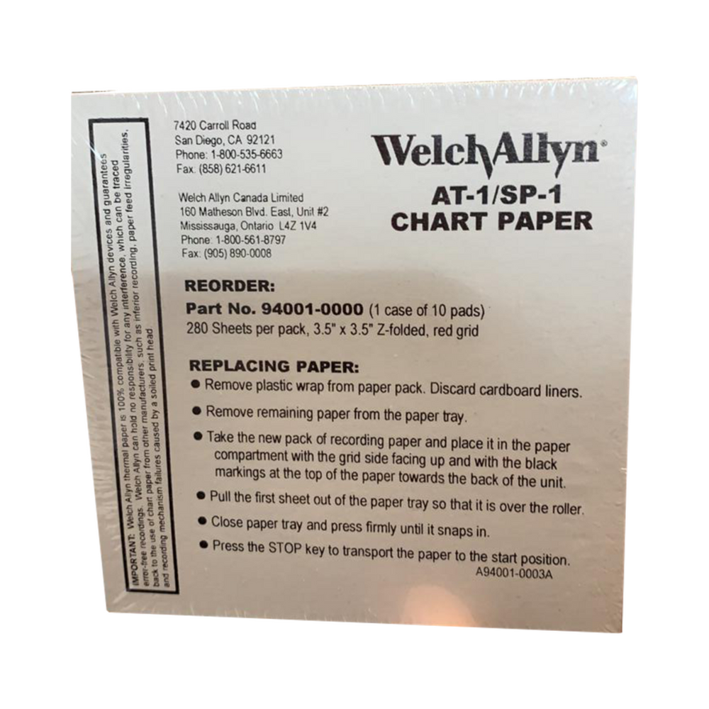 Chart Paper for AT-1 EKG SP-1 SPIROMETRY WELCH ALLYN