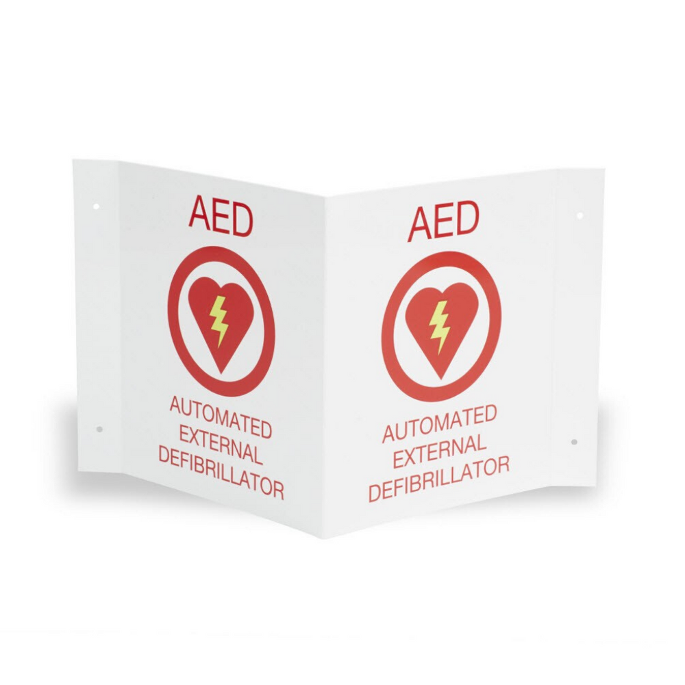 AED Wall Sign Kit, One Flush And One 3-D Wall Sign for AED