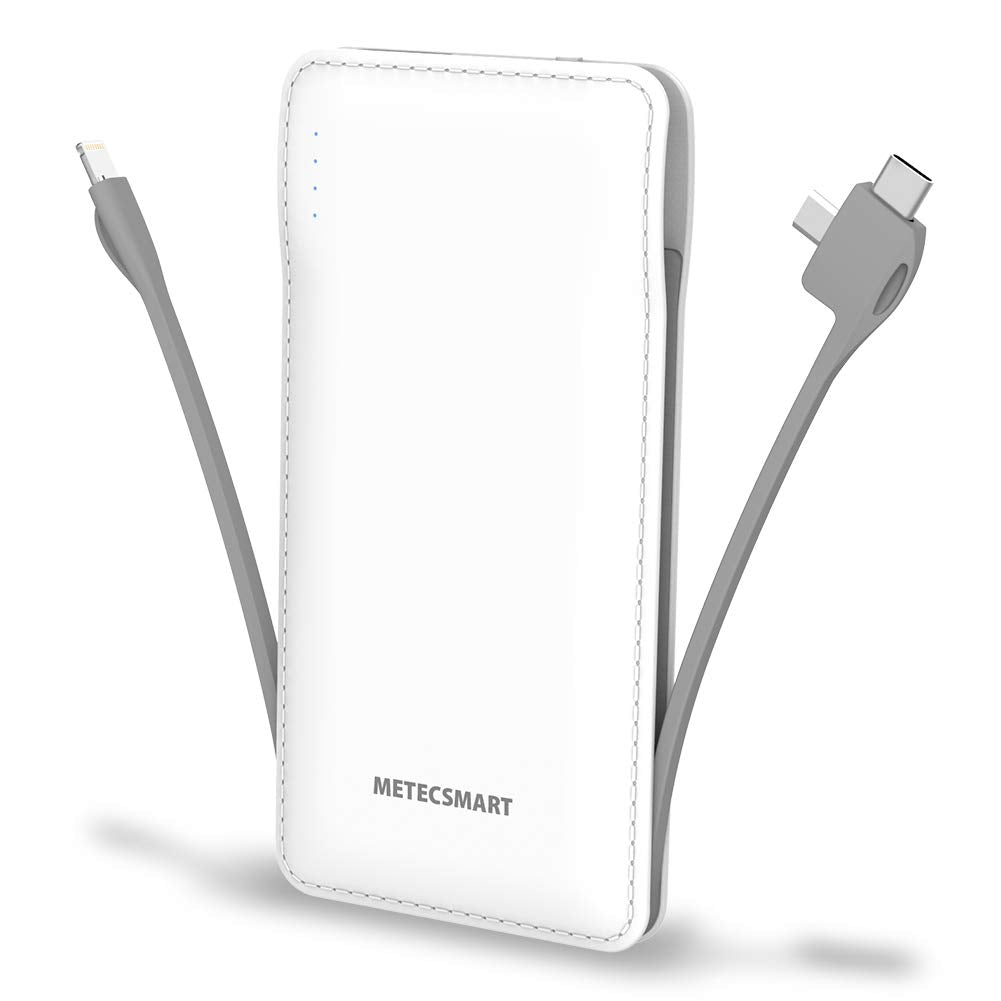 10000mAh Portable Charger, Ultra Slim USB C Power Bank, 4 Output External Battery Pack,Built in Micro and USB C Three Cables Compatible with All mobilephones iPhones X XR MAX