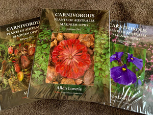 Special Offer with orders over  £100. Free set of the three volume collection - Carnivorous Plants of Australia - worth £120.