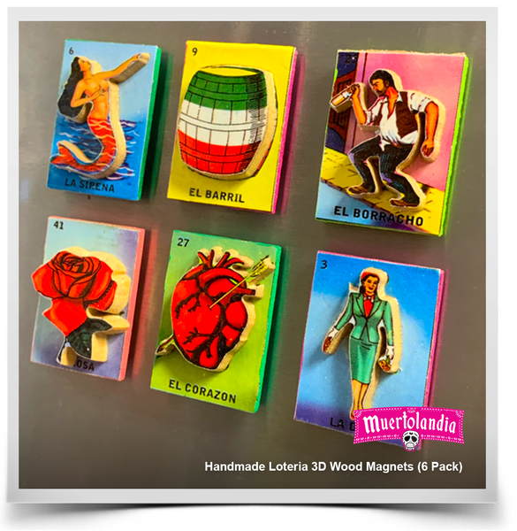 Handmade Loteria 3D Wood Magnets (6 Pack)