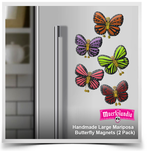 Handmade Large Mariposa Butterfly Magnets (2 Pack)