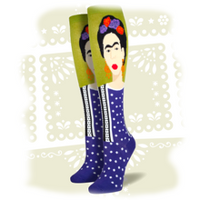 "Load image into Gallery viewer, Women's Frida Kahlo Knee-High ""Fern Green"" Socks"