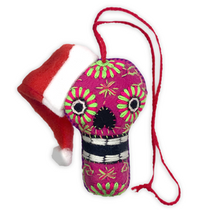 Handmade Plush Skull (Calavera) with Santa Hat