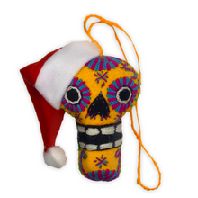 Load image into Gallery viewer, Handmade Plush Skull (Calavera) with Santa Hat