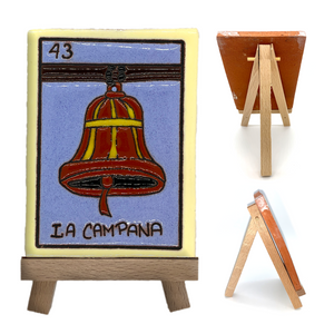 Handmade Clay Loteria Tile and Stand