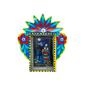 Calavera Tin Nicho With Glass Door