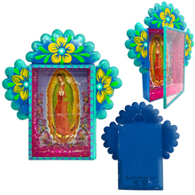 Load image into Gallery viewer, Virgen de Guadalupe Tin Nicho With Glass Door
