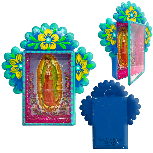 Virgen de Guadalupe Tin Nicho With Glass Door