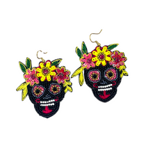 Load image into Gallery viewer, Handmade Calavera Sugar Skull Miranda Earrings