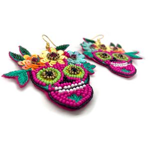 Handmade Calavera Sugar Skull Miranda Earrings