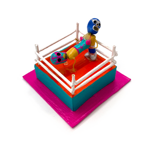 Handmade Luchadores In Wrestling Ring