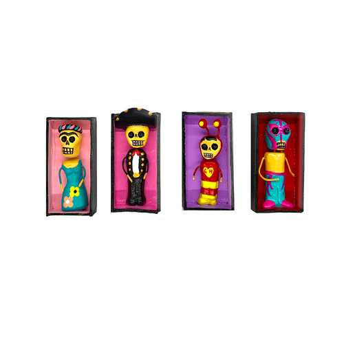Handmade Mini Magnet Coffin People - Los Famosos (4 Pack)