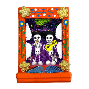 Handmade Shadow Box Nicho - Calaca Musicos (Skeletons)