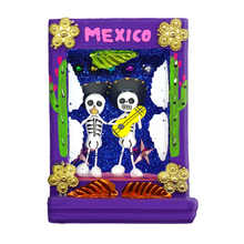 Load image into Gallery viewer, Handmade Shadow Box Nicho - Calaca Musicos (Skeletons)